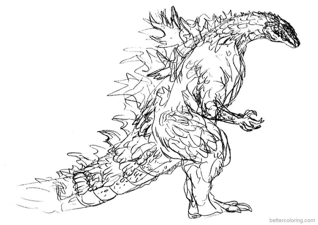 1100x780 Godzilla Coloring Pages Hand Drawing