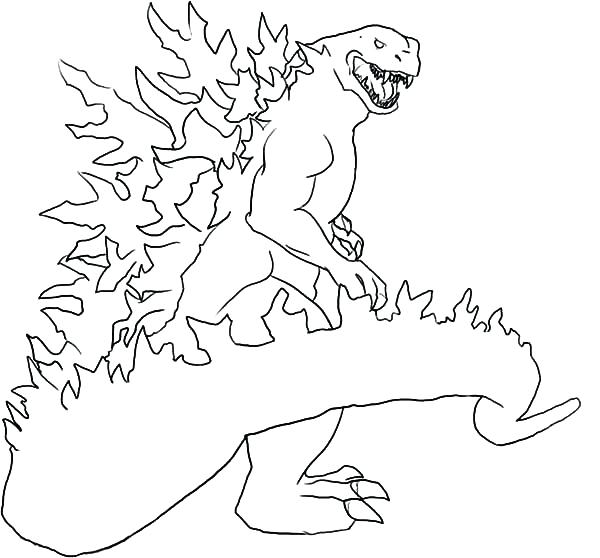 600x558 Godzilla Printable Coloring Pages