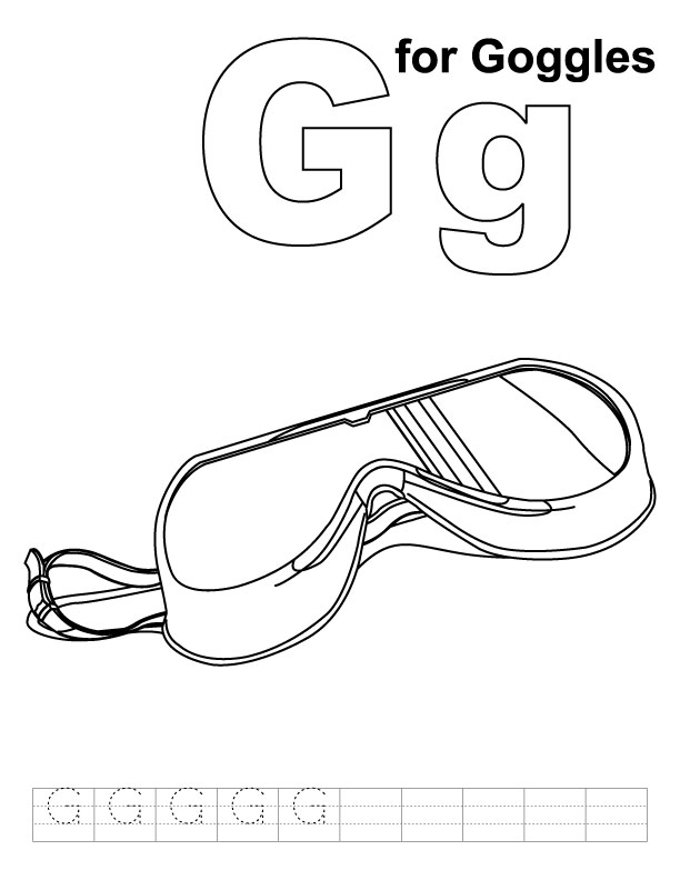 612x792 G For Goggles Coloring Page With Handwriting Practice Download