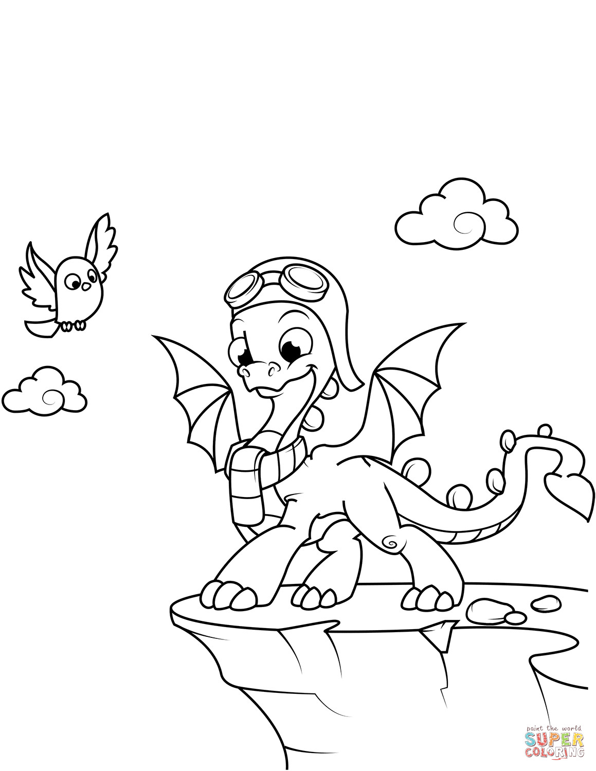 1159x1500 Cute Dragon Wearing Aviators Hat And Goggles Coloring Page