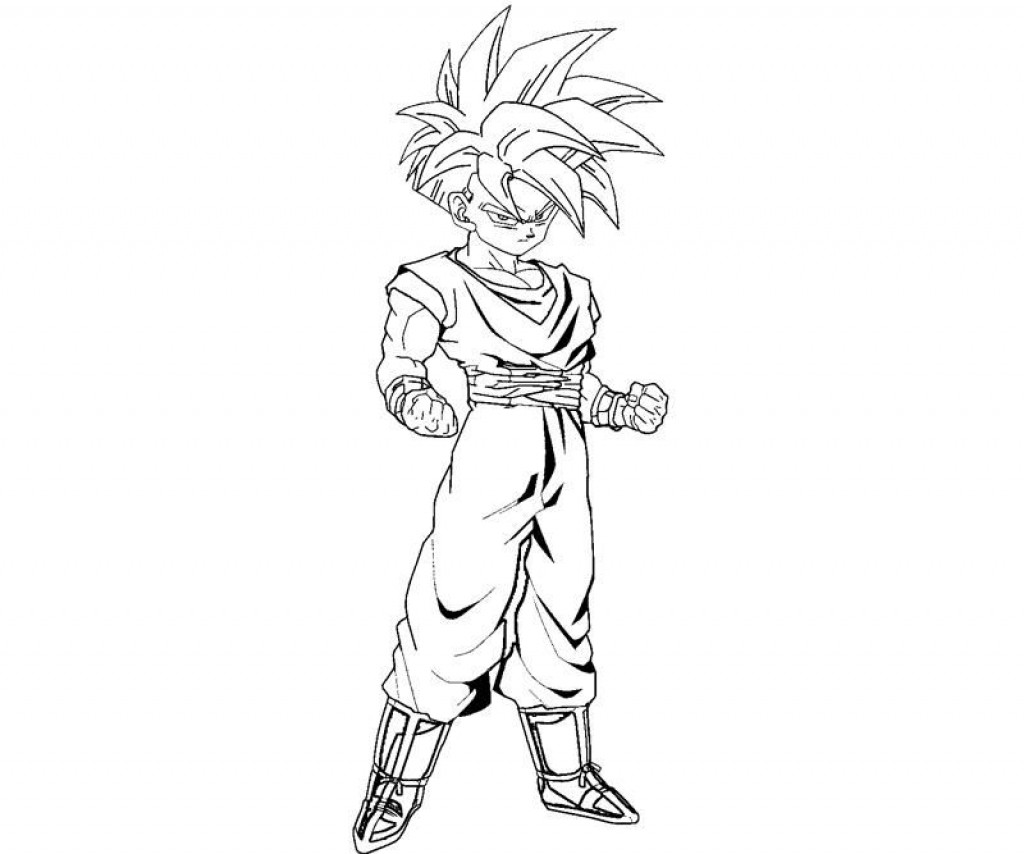 1024x854 Print Dragon Ball Z Kid Gohan Coloring Page Pages With Regard