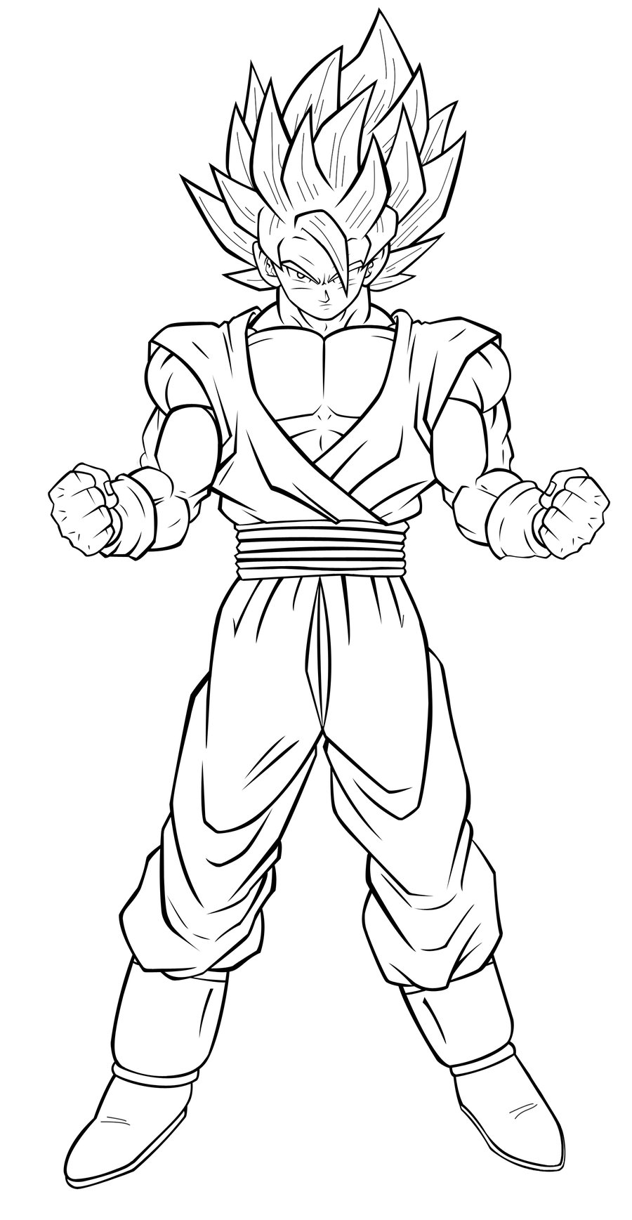 900x1737 Dragon Ball Z Coloring Pages Goku Super Saiyan From Goku Coloring