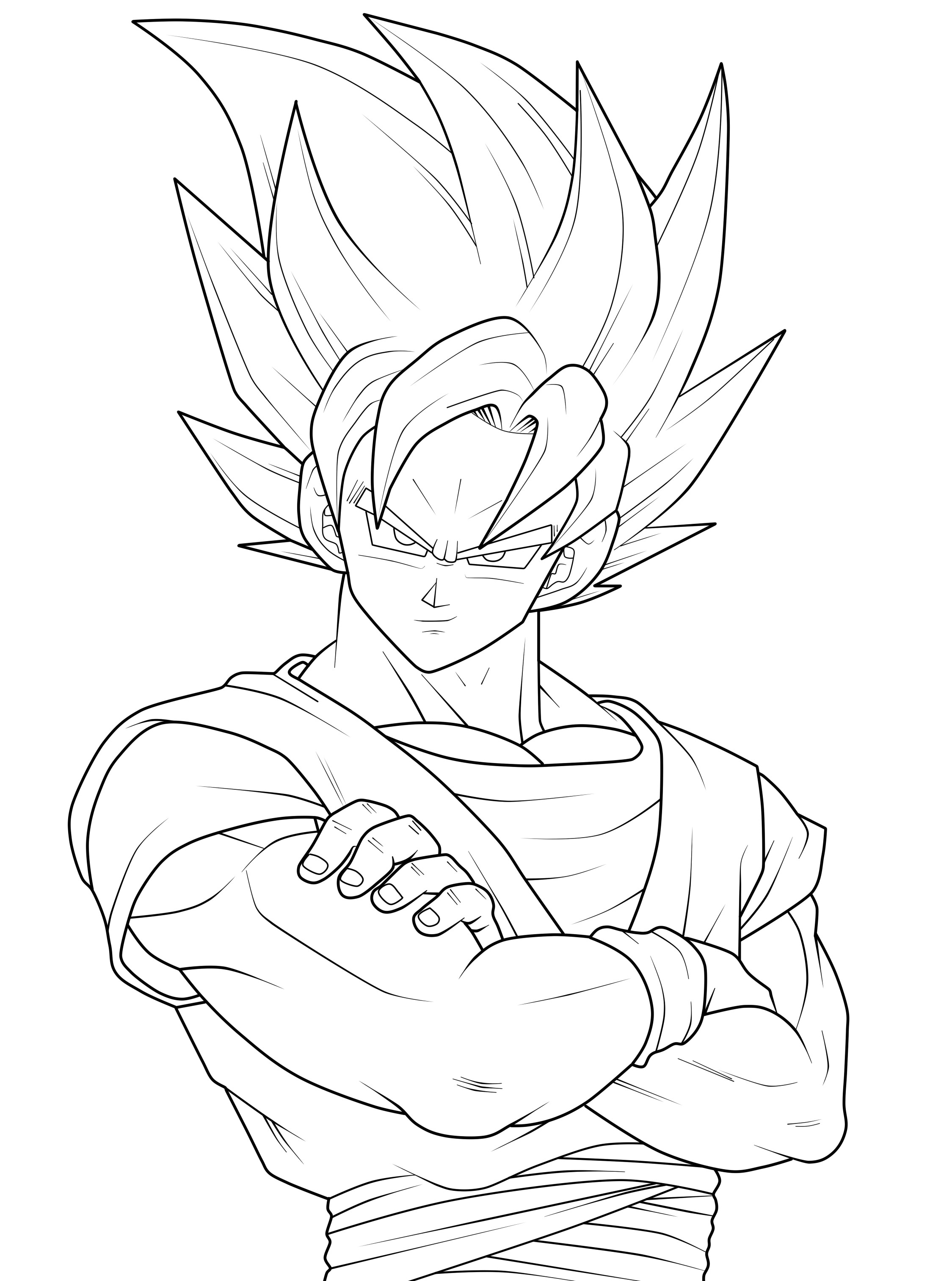 2249x3025 Growth Goku Super Saiyan Coloring Pages Vege