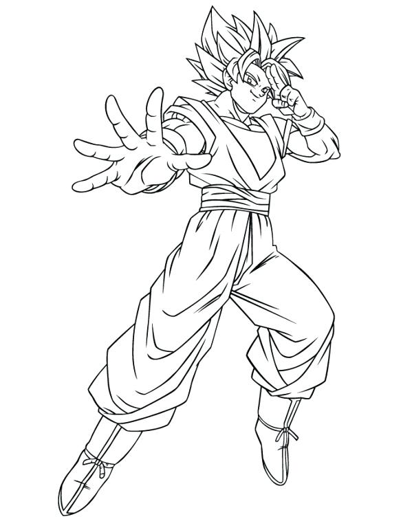 583x755 Goku Ssj Coloring Pages Dragon Ball Z Using Instant Transmission