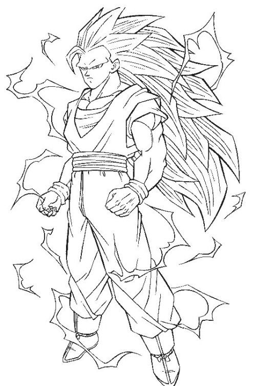 500x752 Dragon Ball Z Coloring Pages Goku Super Saiyan Coloring Pages