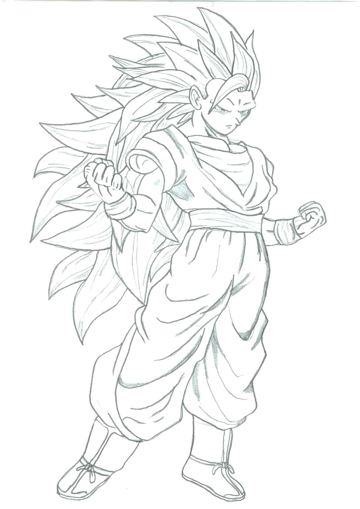 Goku Super Saiyan 3 Coloring Pages At Getdrawings Com Free