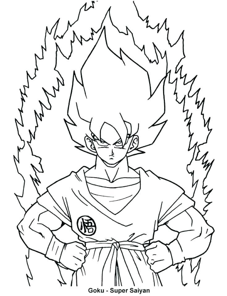 735x960 Goku Coloring Sheets
