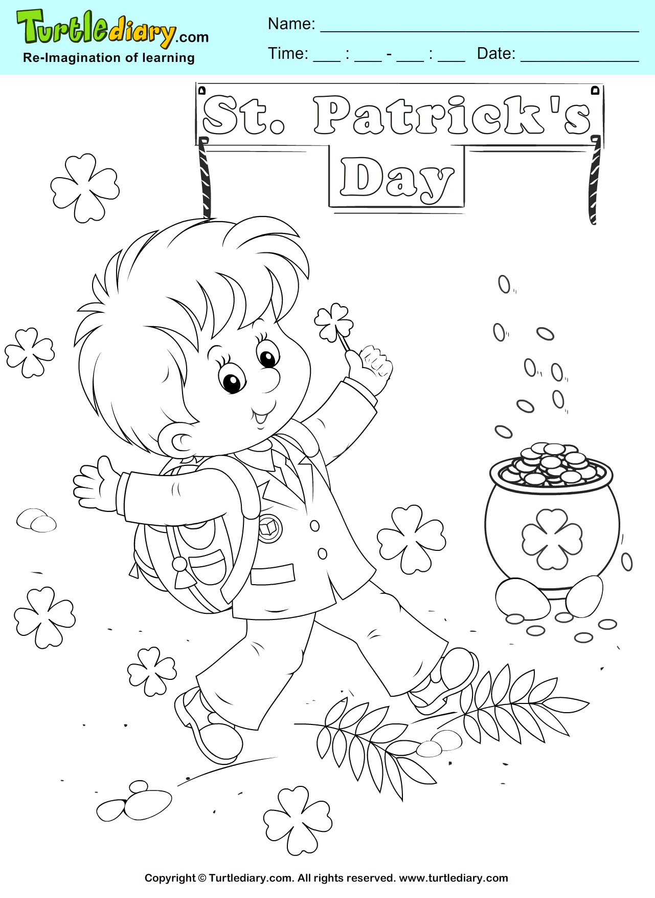 1281x1754 Gold Coins Coloring Page St Pat's Gold Coins