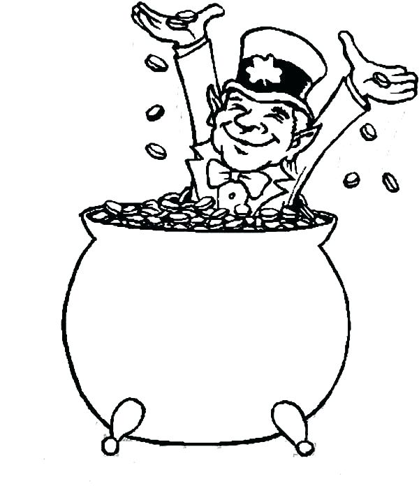 600x706 Pot Of Gold Coloring Page Printable Gold Coin Coloring Pages Also