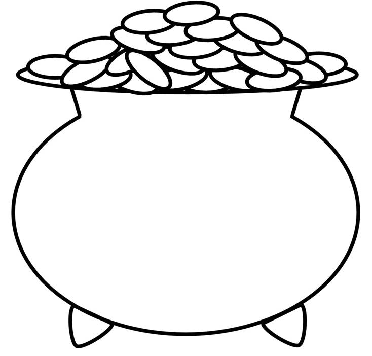 734x702 Pot Of Gold Coloring Pages