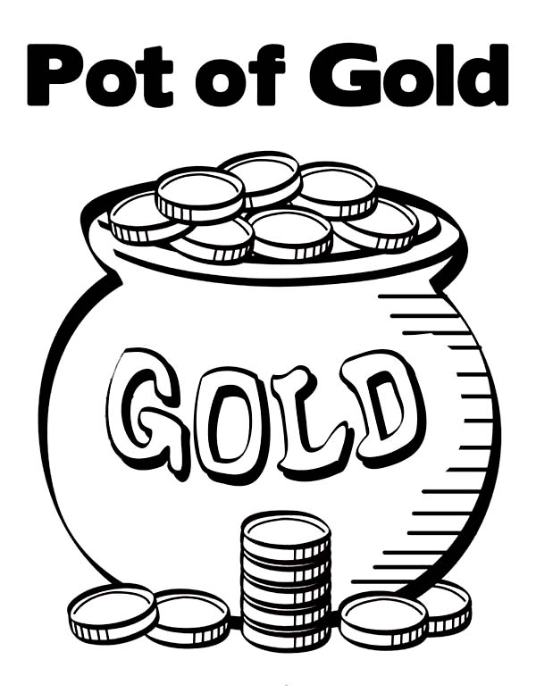 600x776 Pot Of Gold Contain Bunch Of Gold Coins Coloring Page