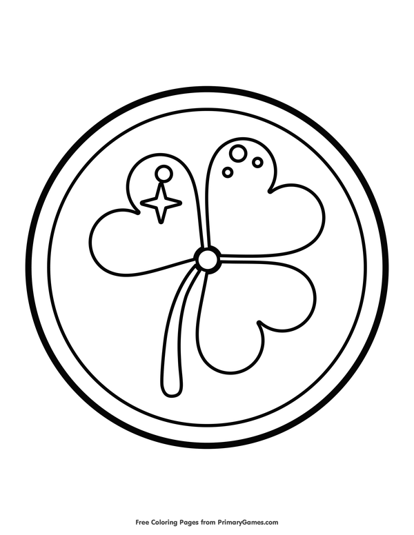 600x776 St Patrick's Day Coloring Pages Ebook Shamrock Gold Coin Gold