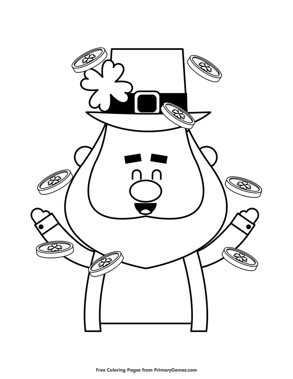 600x776 St Patrick's Day Coloring Pages Ebook Smiling Leprechaun Tossing