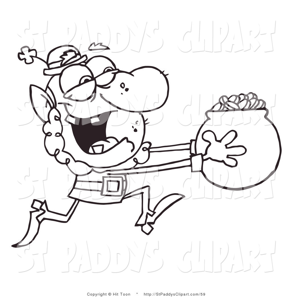 1024x1044 Vector Cliprt Of Coloring Page Of Leprechaun Running