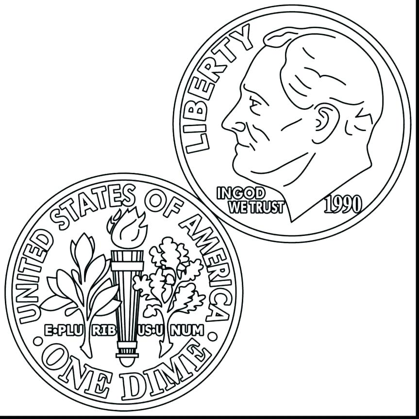 863x863 Coin Coloring Page Amazing Fee Money Pages Dime Clip Art With Play