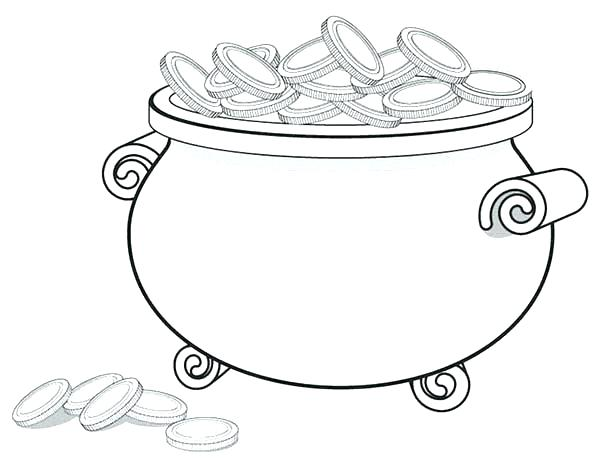 600x464 Coin Coloring Page Coins Coloring Page A Giant Pot Gold Full