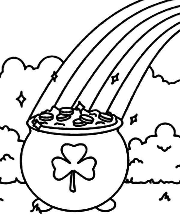 600x714 A Pot Of Gold With A Shamrock Symbol Coloring Page
