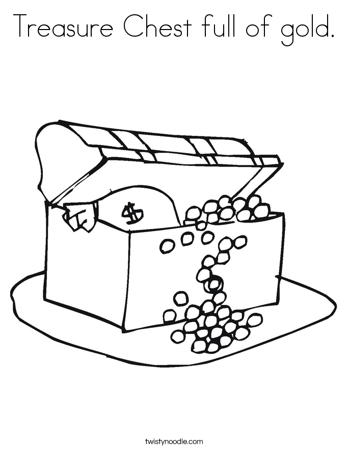685x886 Treasure Chest Full Of Gold Coloring Page