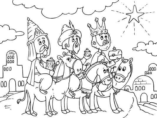533x400 A Cute Christmas Coloring Page Of The Three Kings Bringing Gold