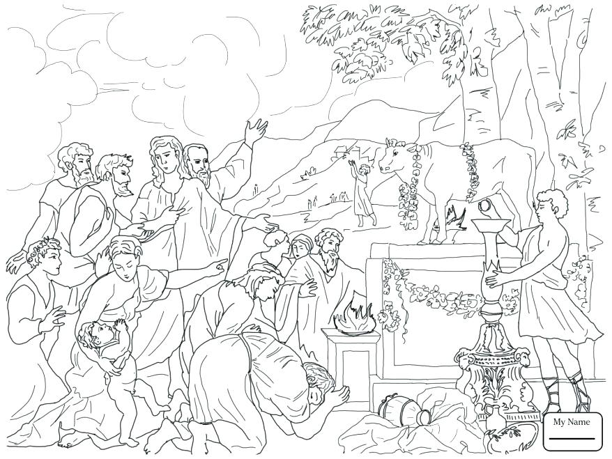 878x659 Golden Calf Coloring Page Coloring Pages Ten Commandments Bible