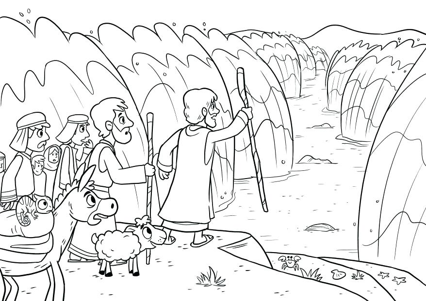 878x622 Golden Calf Coloring Page The Parting Of Red Sea And Commandments