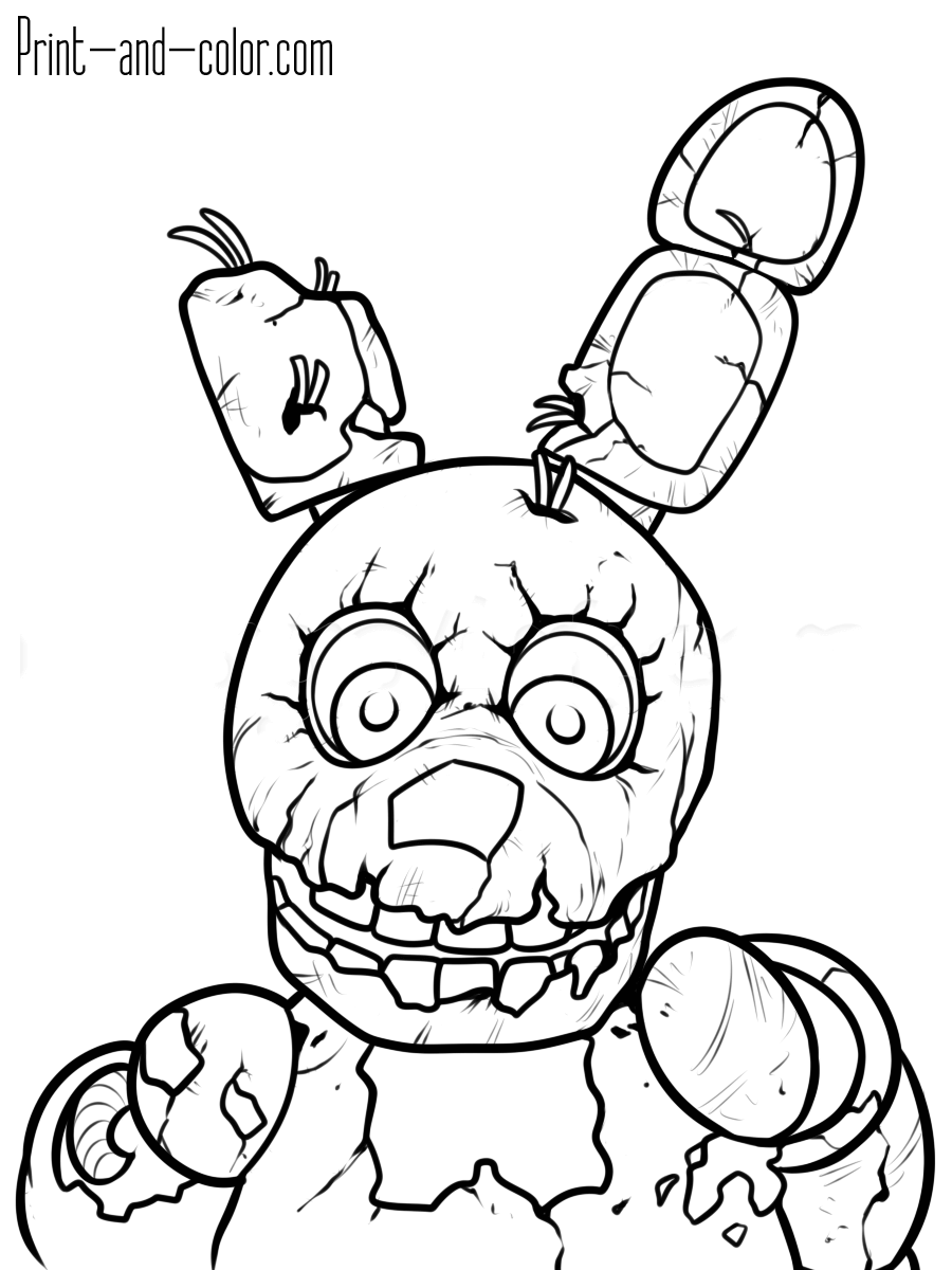 900x1200 Quality Fnaf Coloring Pages Printable Five Nig