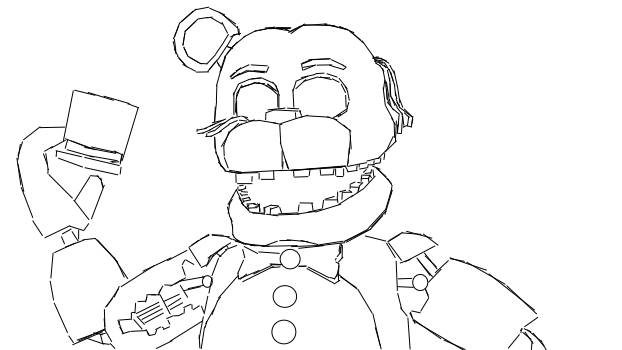 622x350 Withered Golden Freddy Coloring Page