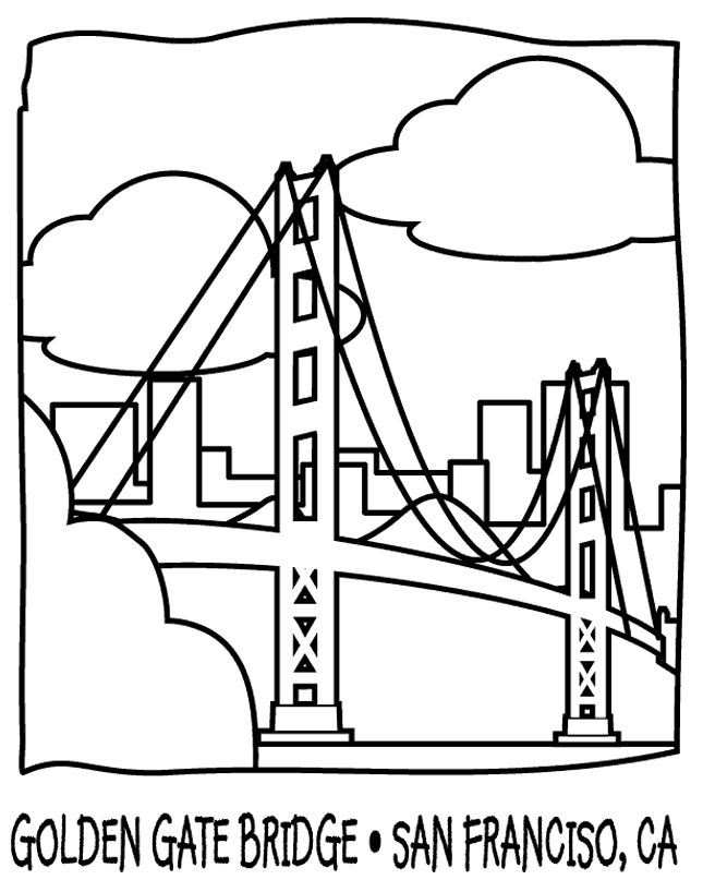 Golden Gate Bridge Coloring Page