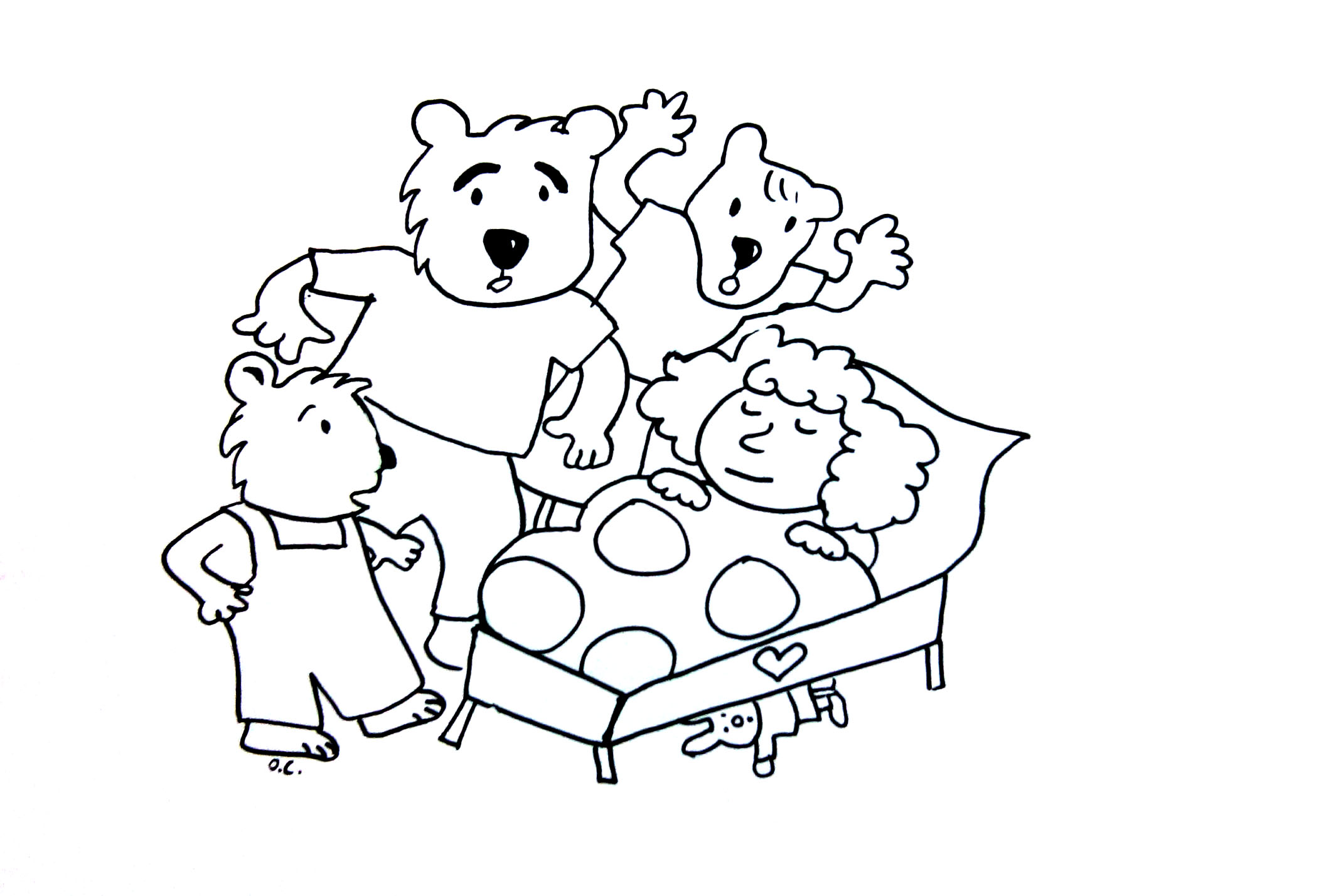 2121x1428 Goldilocks Coloring Pages Coloring Goldilocks And The Tree Bears