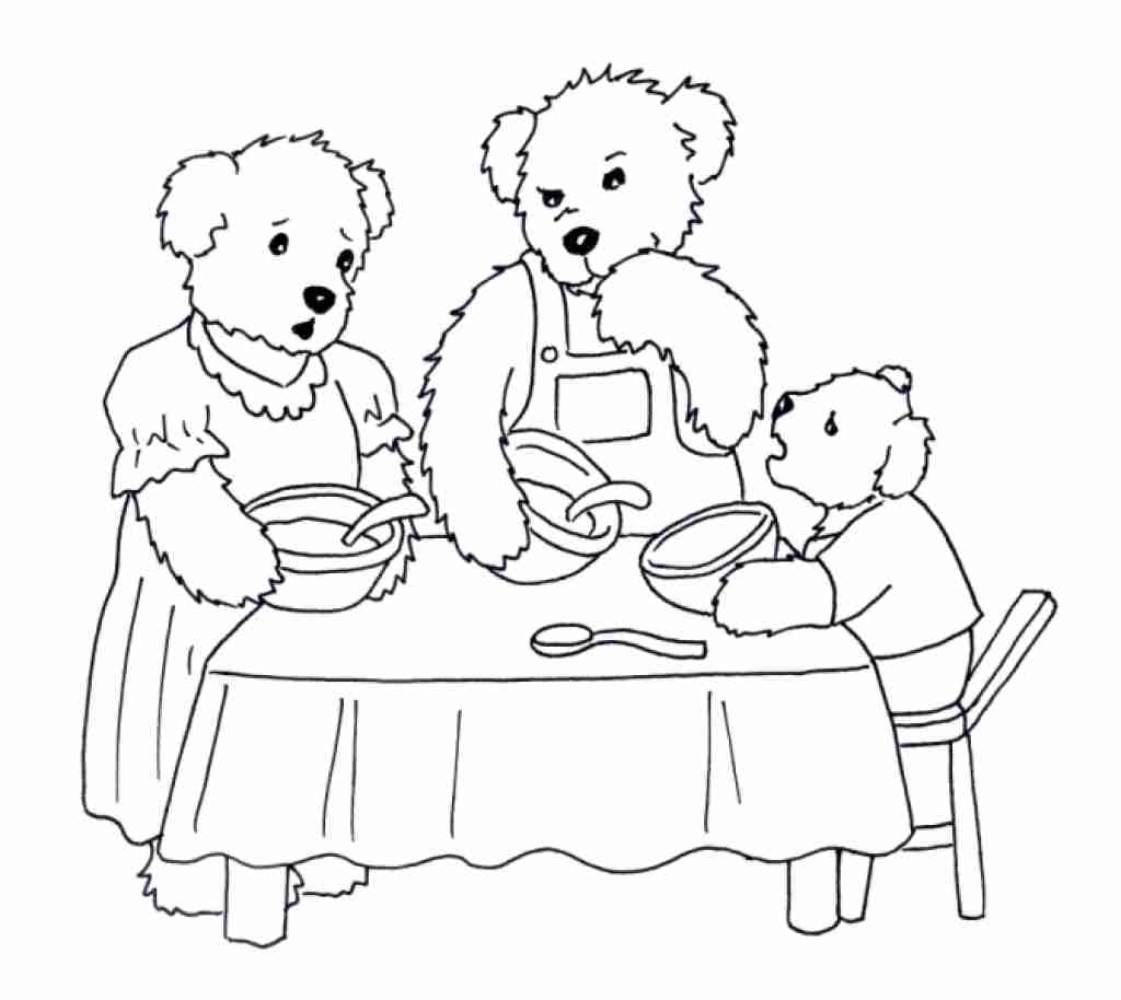 1024x914 The Three Bears Coloring Pages Beautiful Goldilocks And Page