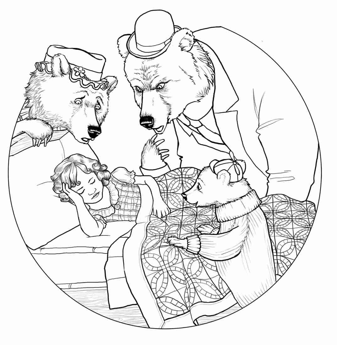 1074x1102 Goldilocks And The Three Bears Coloring Page Olegratiy