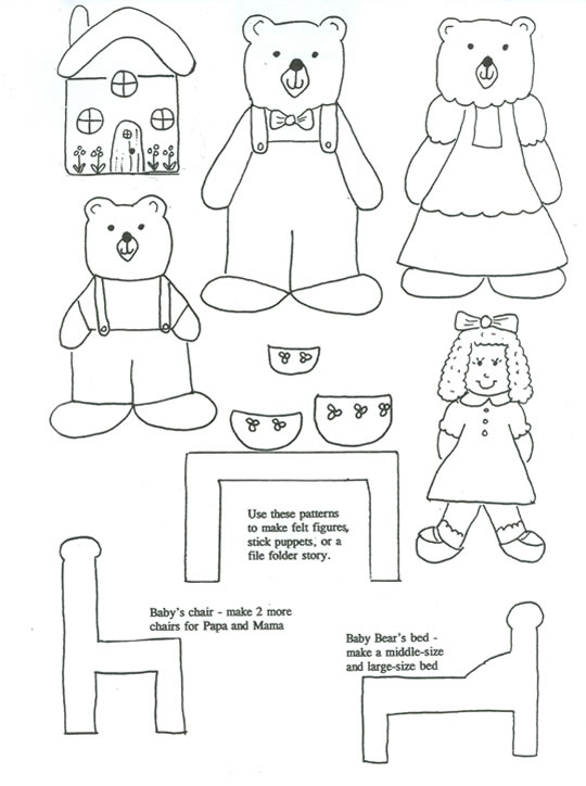 540x724 Three Bears Coloring Pages Goldilocks And The Three Bears Color