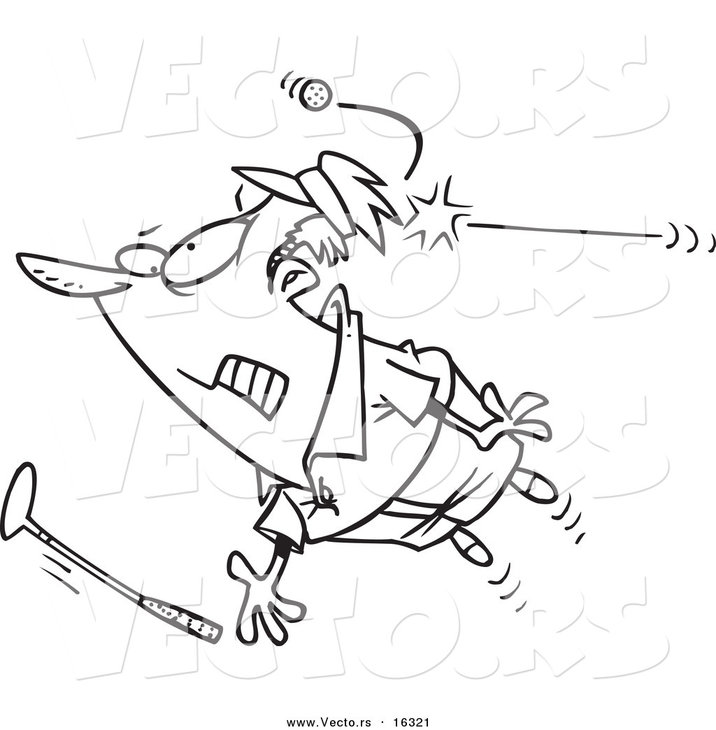 1024x1044 Vector Of A Cartoon Male Golfer Getting Hit With A Ball