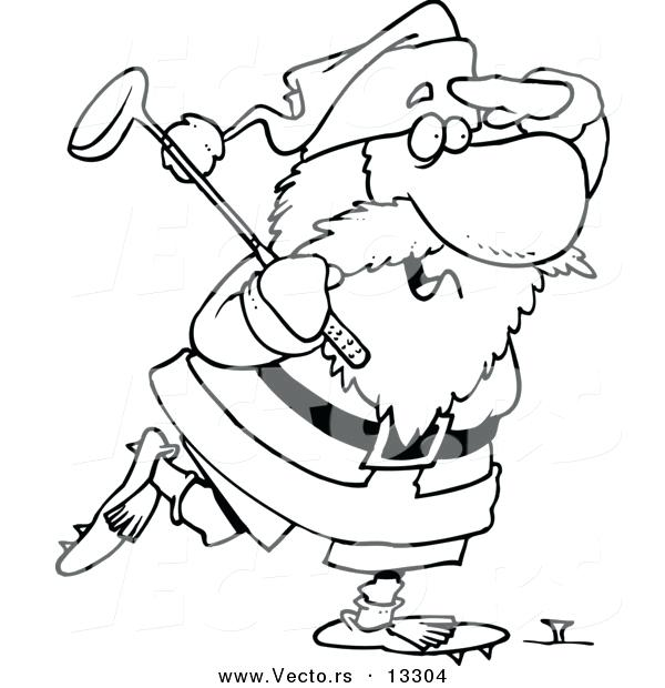 600x620 Vector Cartoon Golfing Coloring Page Outline