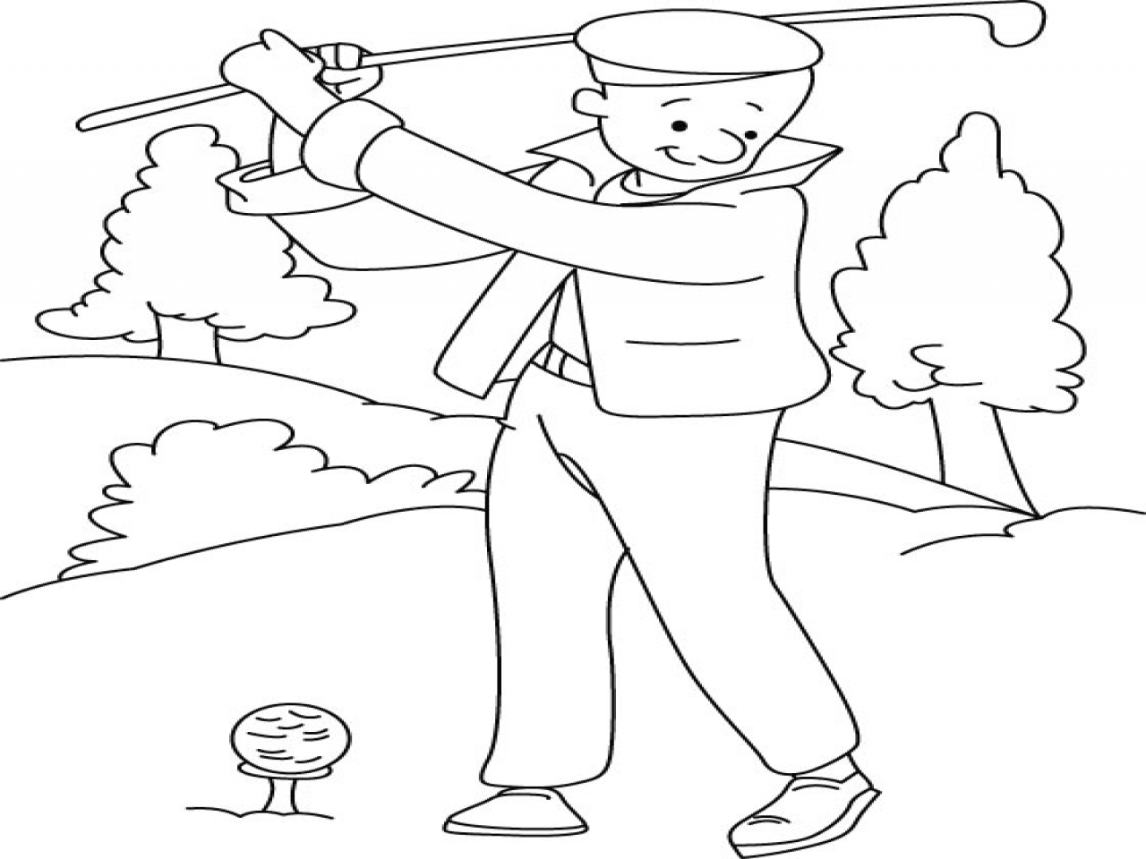 1280x960 Coloring Sheets Golf Bags Playing Page