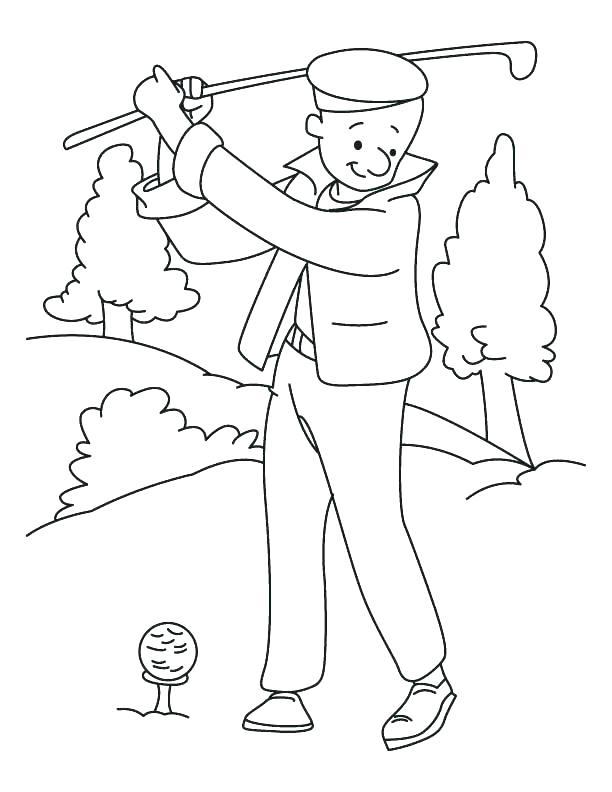 612x792 Golf Coloring Pages Golf Coloring Page Playing Golf Coloring Page