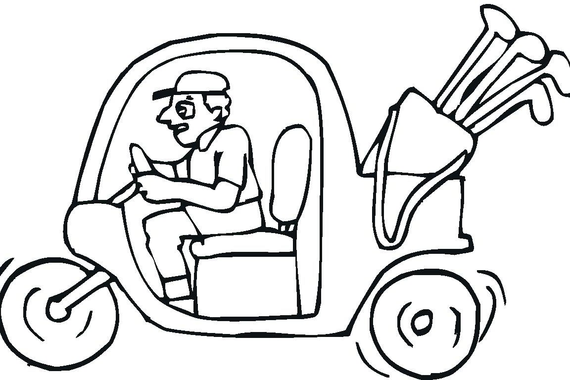 1152x768 Unbelievable Golf Coloring Pages For Kids Club Cart Print Course