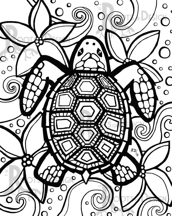 570x713 Turtle Coloring Pages For Adults Printable To Good Page Paint