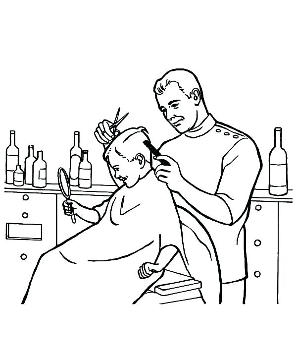 600x734 Job Coloring Page Barber Job Is To Cut Hair Coloring Pages Job