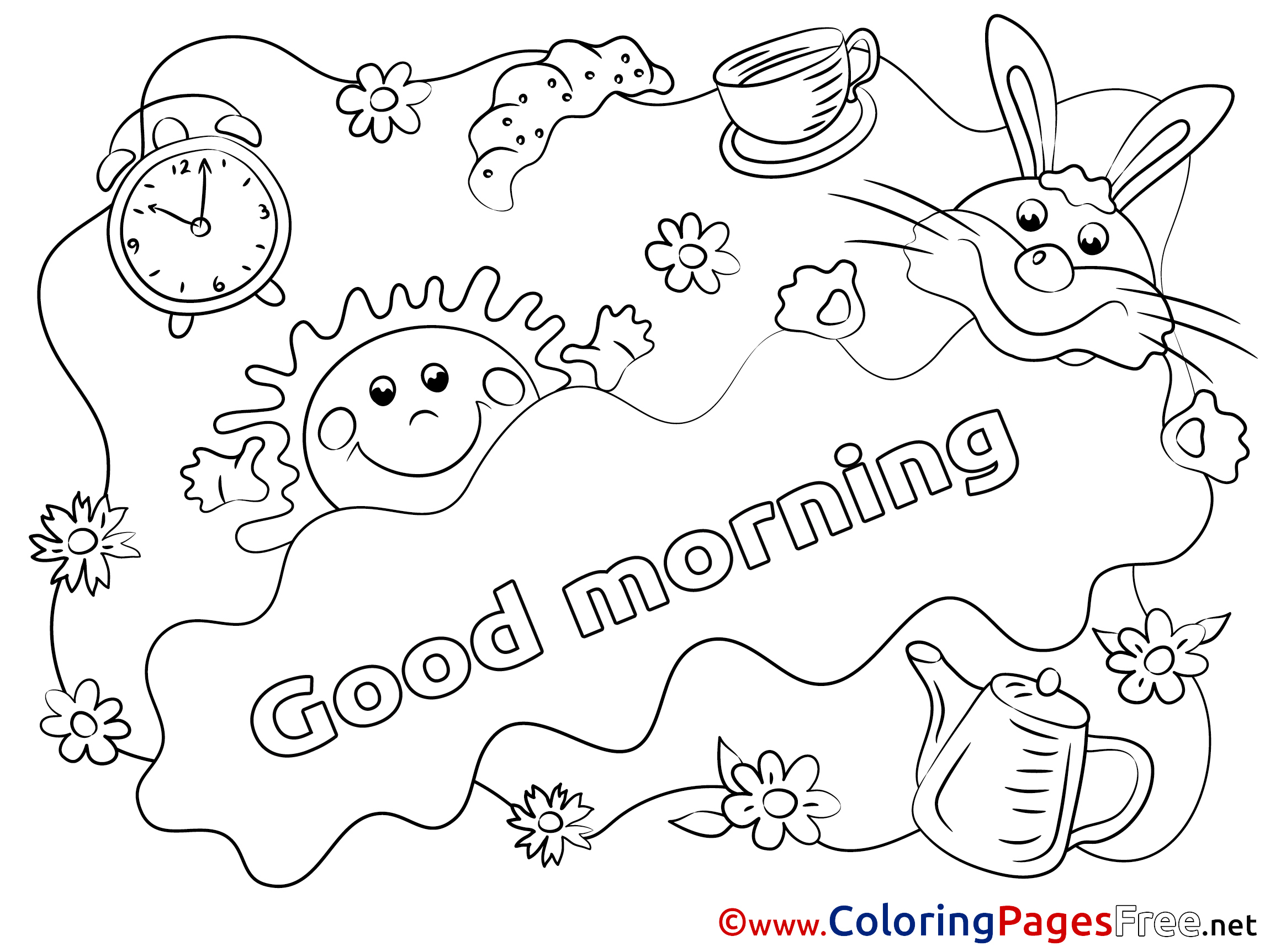 2300x1725 Sun Printable Good Morning Coloring Sheets