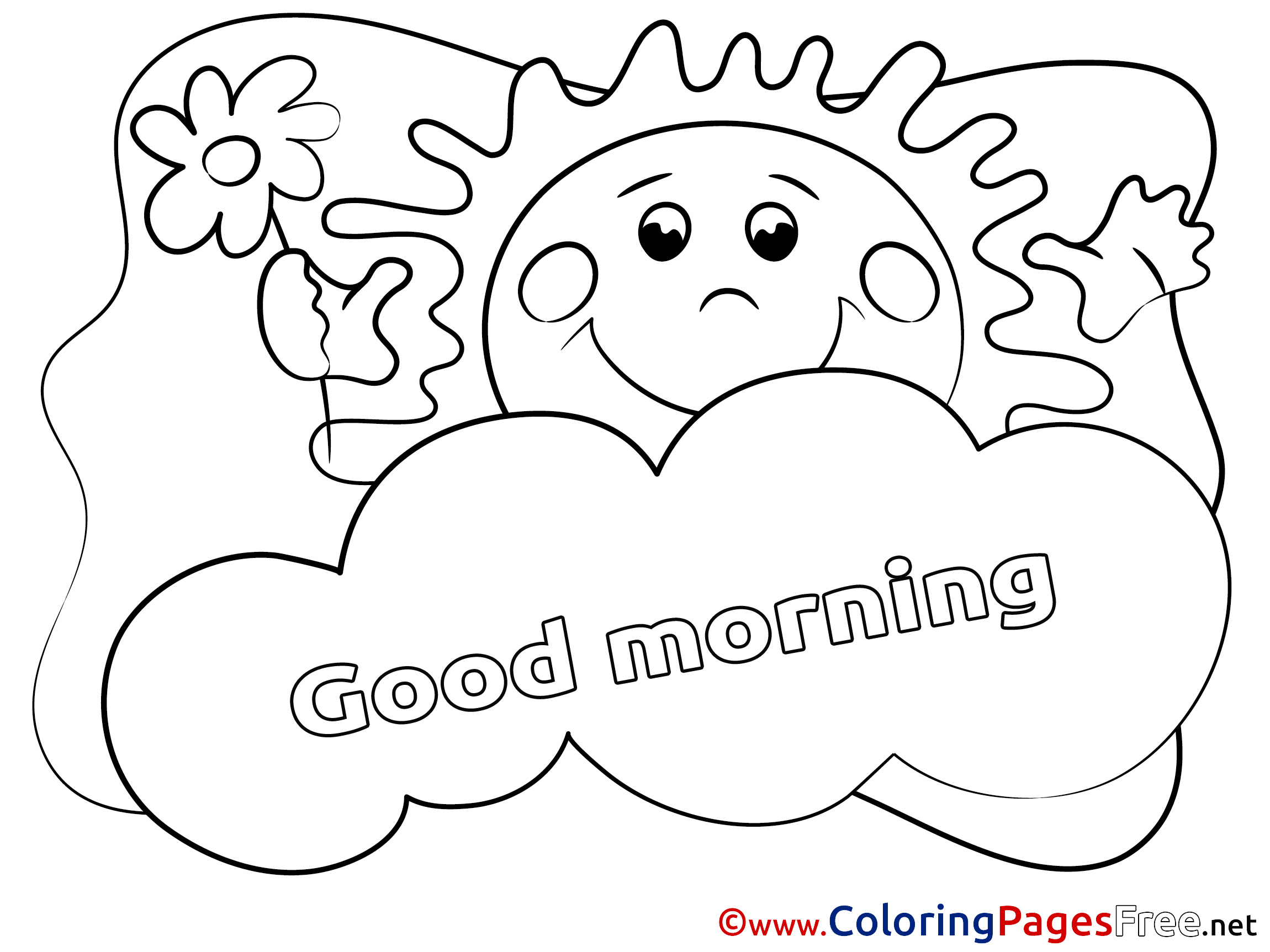 2300x1725 Cloud Free Colouring Page Good Morning