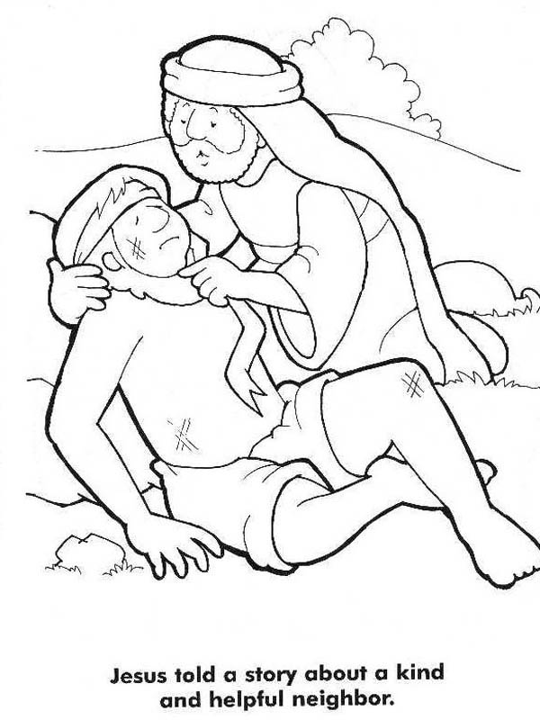 600x800 Good Samaritan Story From Jesus Coloring Page