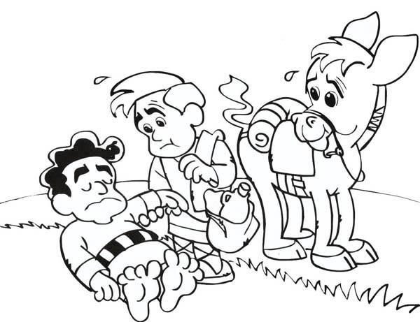 600x461 Cartoon Of Good Samaritan Story Coloring Page