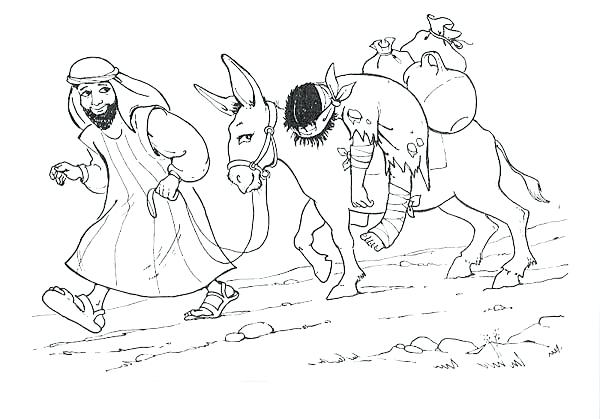 600x419 The Good Samaritan Coloring Pages Depiction Of Good Coloring Page