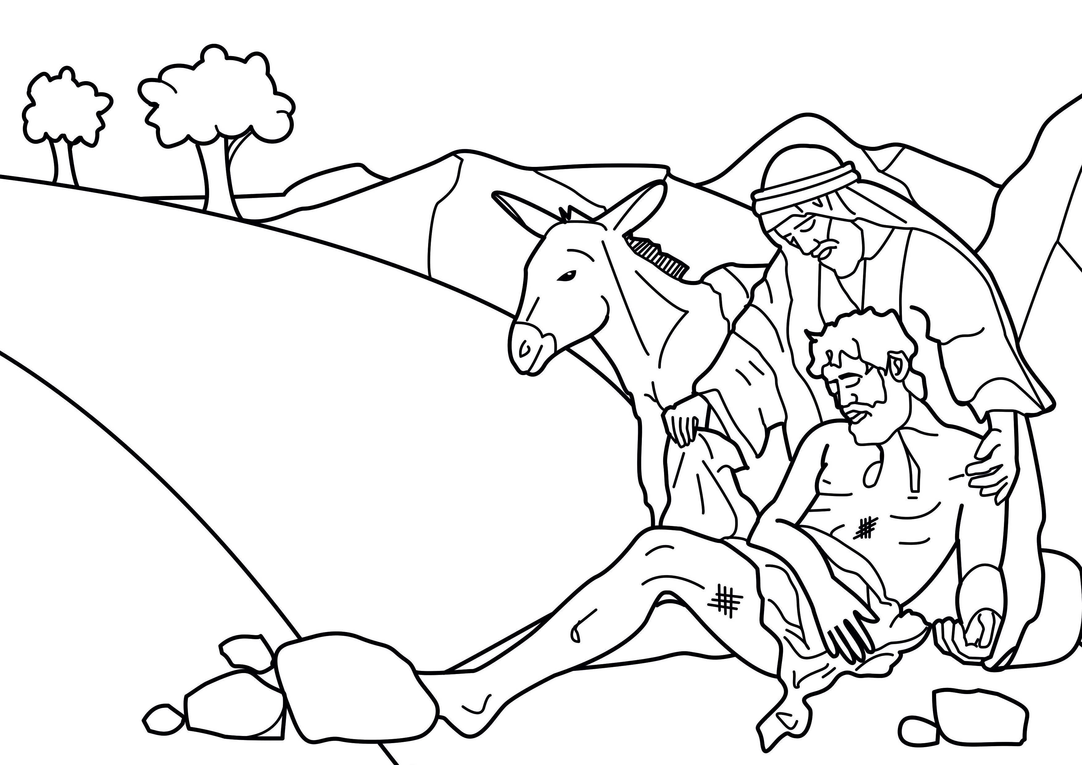 3508x2480 The Good Samaritan Fair Coloring Page