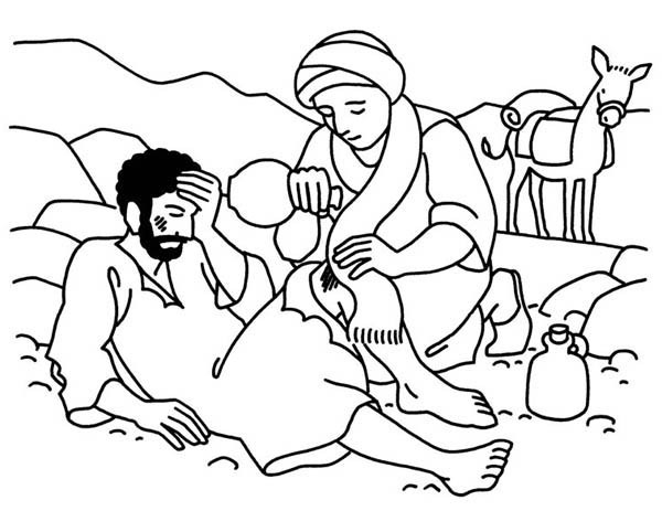 600x463 Good Samaritan Aid Travellers Wound Coloring Page