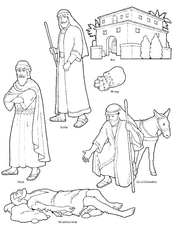 600x780 Good Samaritan Bible Story Coloring Pages Parable Of The Good