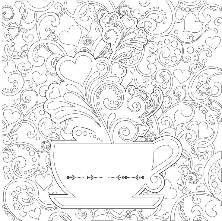 736x731 Tea Cups Coloring Pages Adults