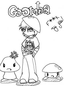 222x300 Goomba Coloring Pages And Super Mario Friends Kids Book Sheets