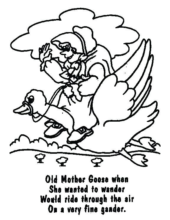 576x747 Mother Goose Coloring Pages Free Printable Mother Goose Coloring